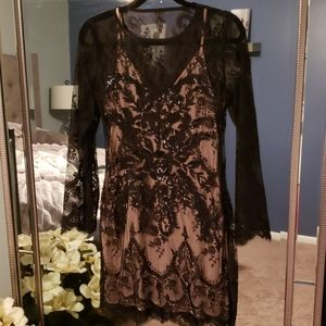Express Black and Nude Lace Dress
